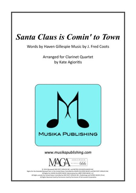 Santa Claus Is Comin' To Town - Jazz Arrangement for Clarinet Quartet