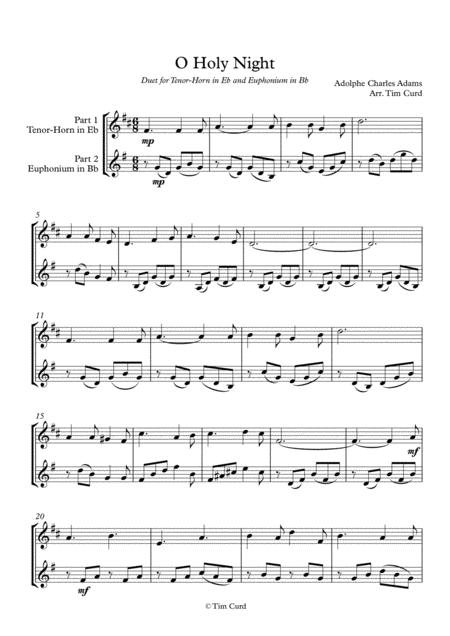 O Holy Night. Duet for Tenor-Horn in Eb and Euphonium in Bb