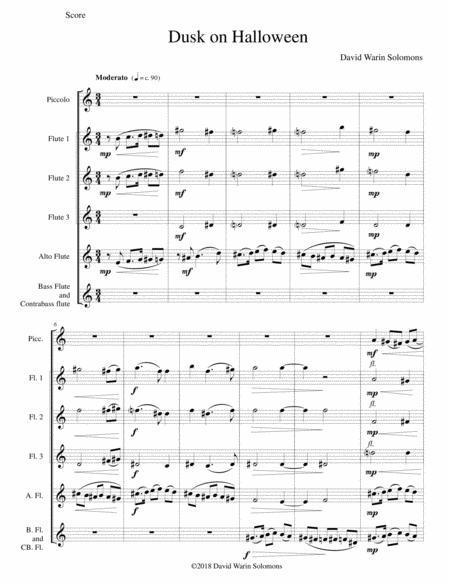 Dusk on Halloween for piccolo and flute choir