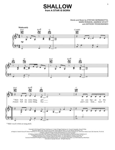 picture regarding Lost Boy Piano Sheet Music Free Printable titled Down load Shallow (in opposition to A Star Is Born) Sheet Tunes Through Female