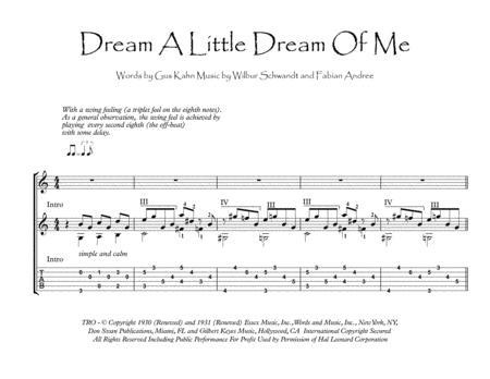 Dream A Little Dream Of Me acoustic guitar