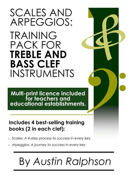 Scales and arpeggios book (pack) for all TREBLE AND BASS CLEF instruments - simple process to success in every key. Teacher's multi-licence bundle on all 4 books in the series.