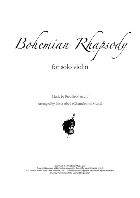 Bohemian Rhapsody - solo violin arrangement by Elena Abad (advanced)