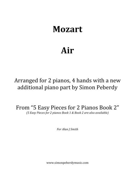Air from a string quartet by Mozart for 2 pianos (additional piano part by Simon Peberdy). Easy music for 2 pianos.