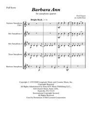Barbara Ann - for saxophone quartet ( Optional Soprano Sax)