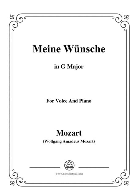 Mozart-Meine wünsche,in G Major,for Voice and Piano