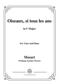 Mozart-Oiseaux,si tous les ans,in C Major,for Voice and Piano