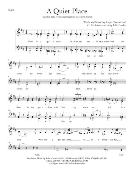 A Quiet Place (Take 6) for SSAA a cappella quartet