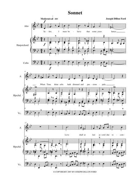 Sonnet for alto voice, harpsichord and cello