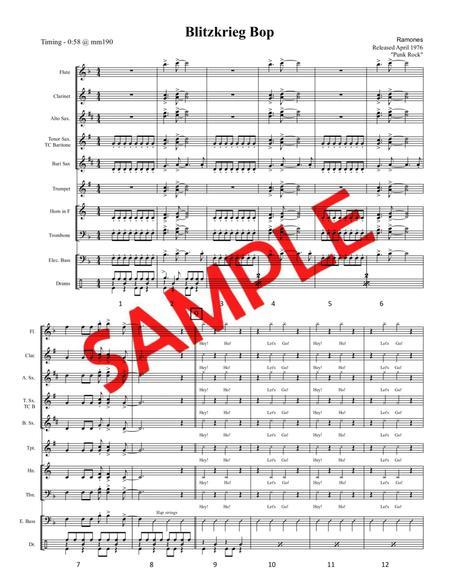 BLITZKRIEG BOP (Ramones, 1976) - for pep band, basketball band, jazz combo, small jazz ensemble