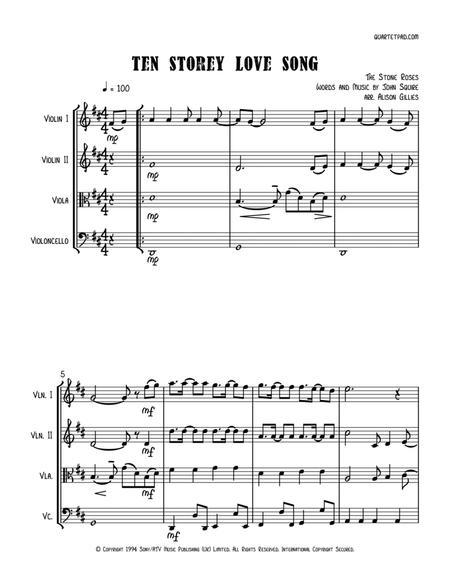 Ten Storey Love Song - String Quartet
