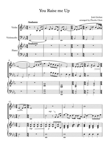 Download You Raise Me Up Trio For Violin Cello And Piano