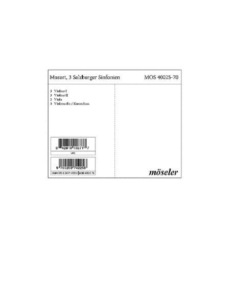 3 Salzburg Sinfonies KV 136-138