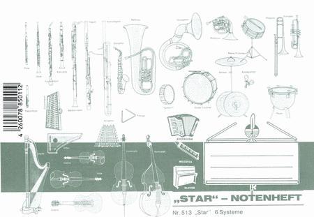 Music manuscript book 6 staves ledger lines