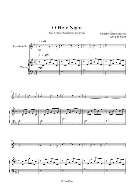 O Holy Night. For Solo Tenor Saxophone in Bb and Piano