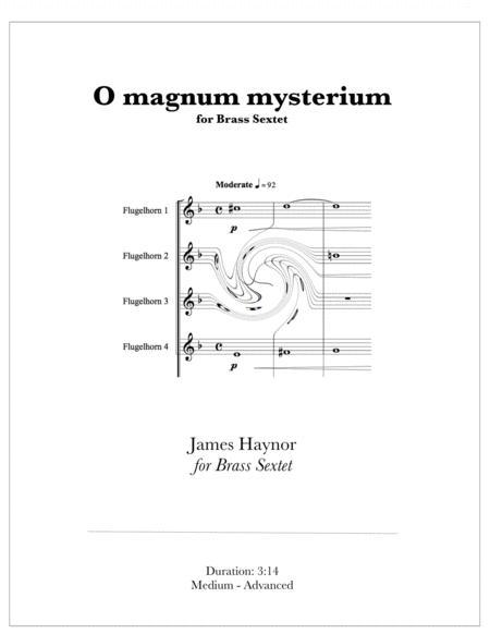 O magnum mysterium for Brass Sextet