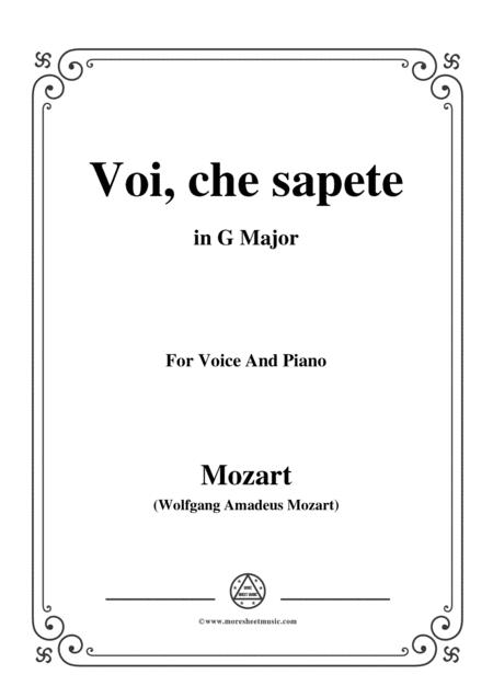 Mozart-Voi,che sapete,in G Major,for Voice and Piano