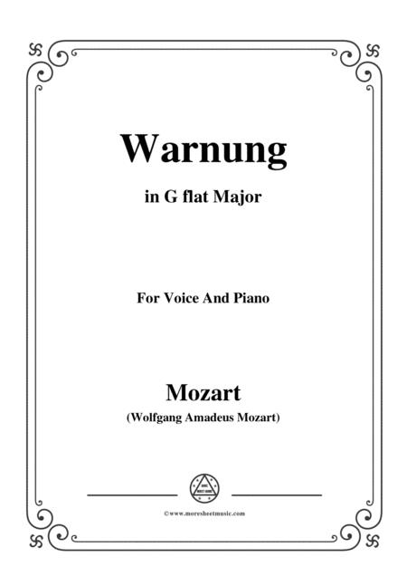 Mozart-Warnung,in G flat Major,for Voice and Piano