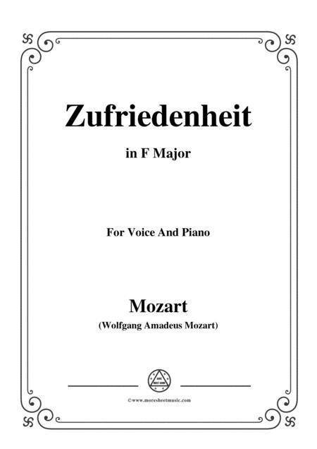Mozart-Zufriedenheit,in F Major,for Voice and Piano