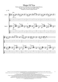 Shape Of You (Duet Guitar Tablature)