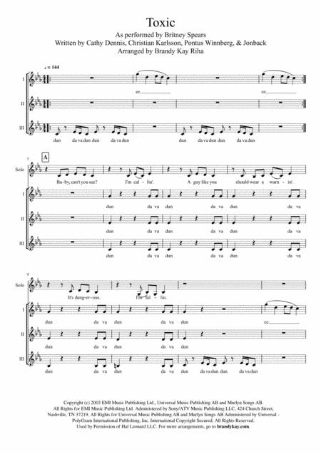 Toxic Ssa A Cappella By By Britney Spears Digital Sheet Music For Sheet Music Single Download Print H0 432653 58655 Sheet Music Plus
