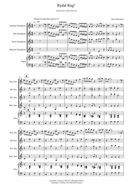 Rydal Rag! for Saxophone Quartet