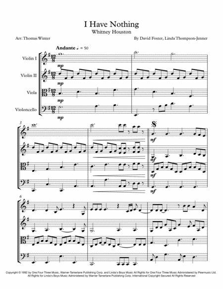 I Have Nothing String Quartet, Trio, Duo or Solo Violin