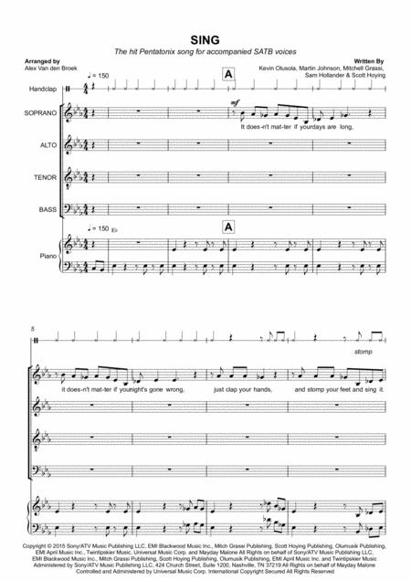 Sing SATB with Piano Accompaniment