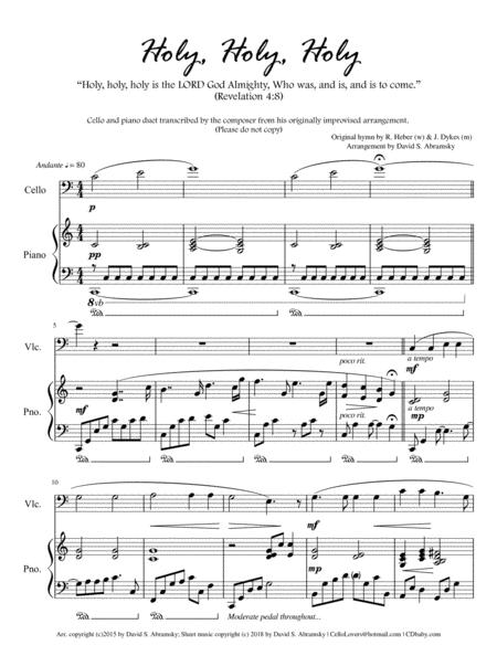 Holy, Holy, Holy (arr. for cello and piano)