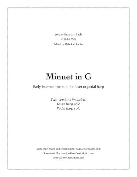 Minuet in G by Bach - solo lever or pedal harp