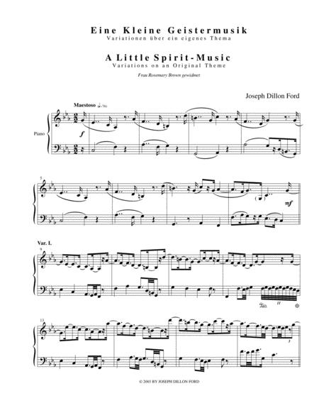 Eine Kleine Geistermusik: Variationen über ein eigenes Thema (A Little Spirit-Music: Variations on an Original Theme) for piano solo