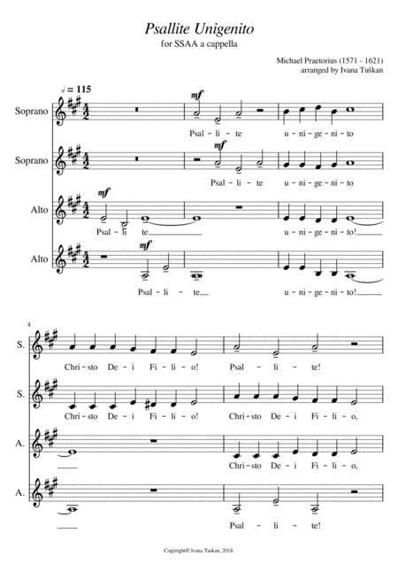 Psallite unigenito, SSAA a cappella