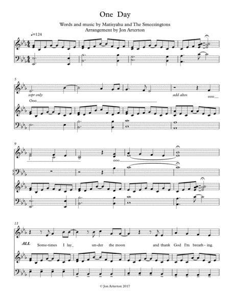 Download One Day - SAB Chorus And Piano Sheet Music By
