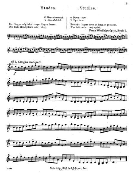 F.Wohlfahrt, Etude N.1 +14 bowing exercises, from 60 Etudes for Violin, Op.45, Book I, + mp3 life recording