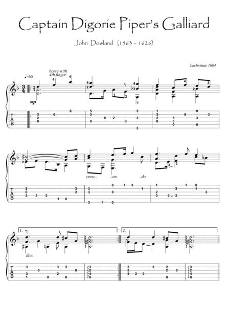 Captain Piper by Dowland guitar solo