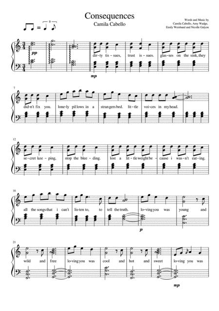 Download Consequences - Piano Solo Sheet Music By Camila