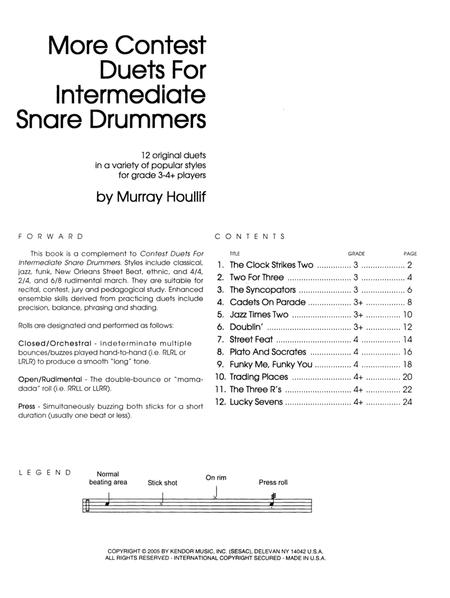 More Contest Duets For Intermediate Snare Drummers