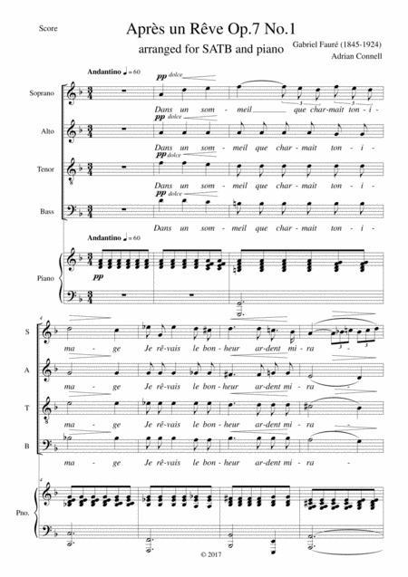 Faure Apres un Reve Op.7 No.1 arranged for SATB choir and piano (or organ)