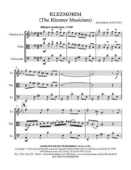 Klezmorim (The Klezmer Musicians) for Clarinet and Cello (with optional viola)