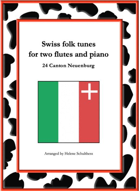 24 Swiss folk tune for two flutes and piano - Les fillettes du Landeron - Polka - Canton Neuenburg