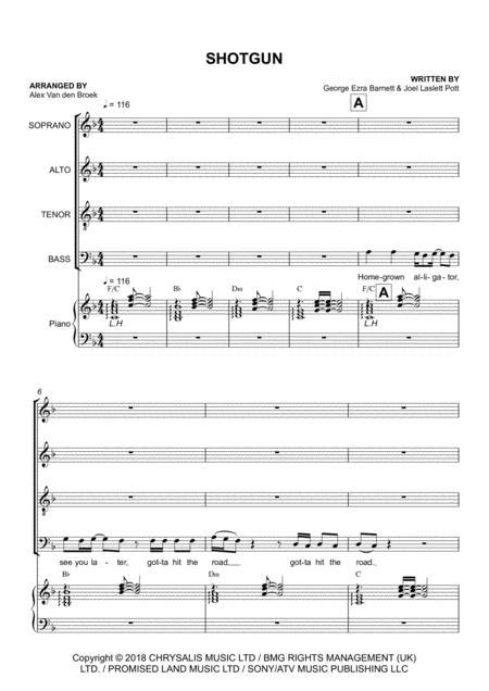 Shotgun SATB with Piano Accompaniment
