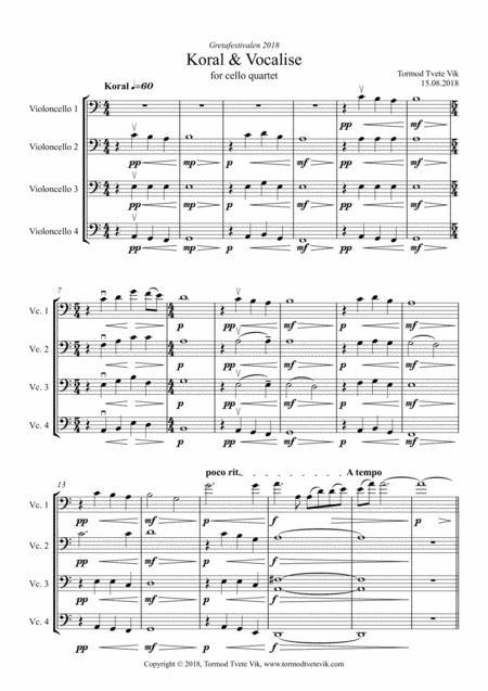 Koral & Vocalise for cello quartet