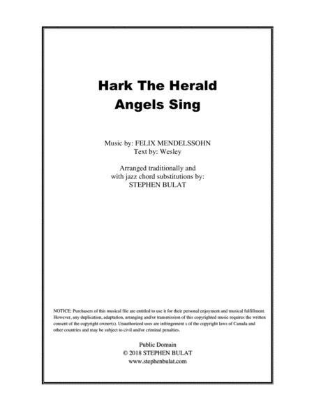 Hark The Herald Angels Sing - Lead sheet arranged in traditional and jazz style (key of G)
