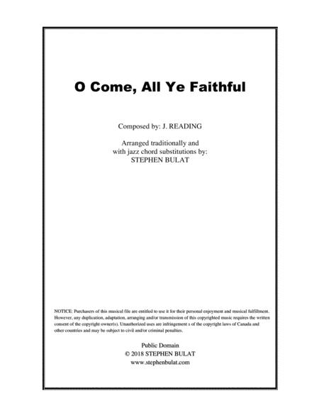 O Come, All Ye Faithful - Lead sheet arranged in traditional and jazz style (key of G)
