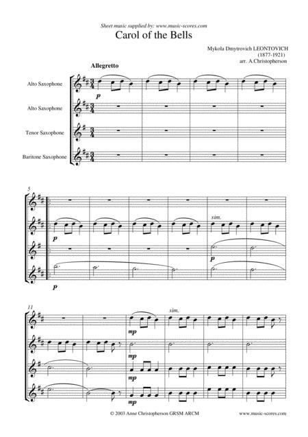 Carol of the Bells - Saxophone Quartet