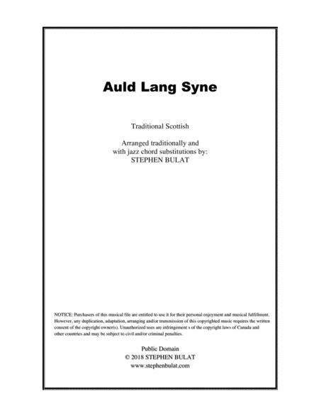 Auld Lang Syne - Lead sheet arranged in traditional and jazz style (key of F)