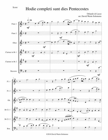 Hodie completi sunt by Orlando di Lasso for wind sextet (2 flutes, oboe, 2 clarinets, bassoon)