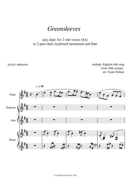Greensleeves,  for SA, piano and flute, E minor