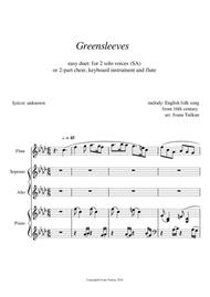 Greensleeves,  for SA, piano and flute, F minor