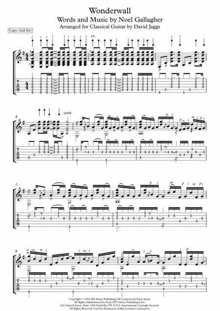 Wonderwall (Including tablature)